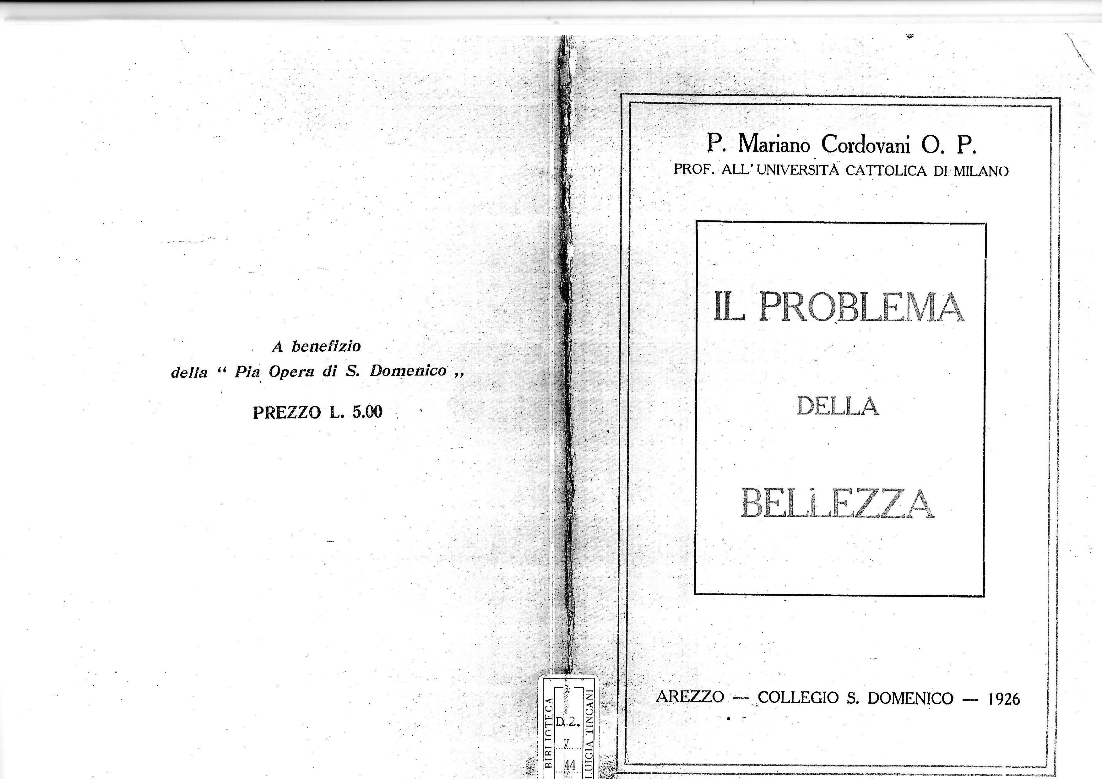 Libro – Cordovani : Il problema della bellezza