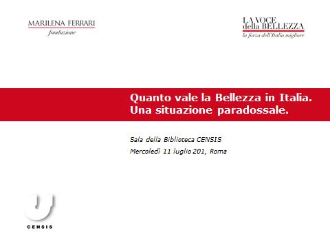 Ricerca Censis – Quanto vale la bellezza in Italia: una situazione paradossale