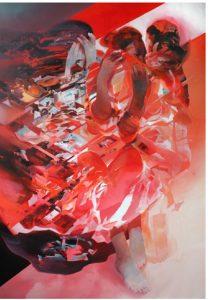 Robert PROCH - Red Dress - 2016 - acrilico su tela - - courtesy Galleria Wundernkammern